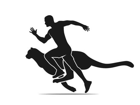 Geschwindigkeitskonzept, schnell laufender Mann mit Gepard, Puma, Leoparden-Silhouette-Vektor-Illustration