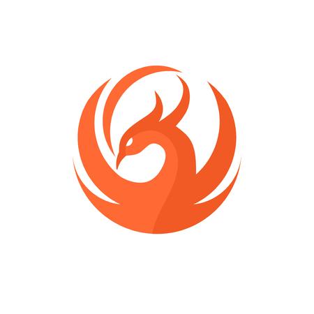 phoenix circle logo vector, best circle phoenix bird logo design, phoenix vector logo,creative logo of mythological bird