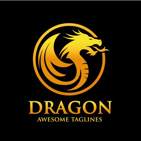 creative golden dragon circle logo design vector illustration