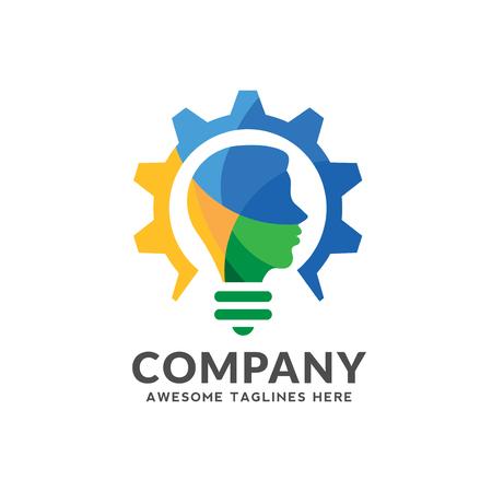 Kreatives buntes Logo, das Glühbirne, Ausrüstung mit menschlichem Kopfdesign, intelligentes, intelligentes Personenvektorlogo kombiniert Logo