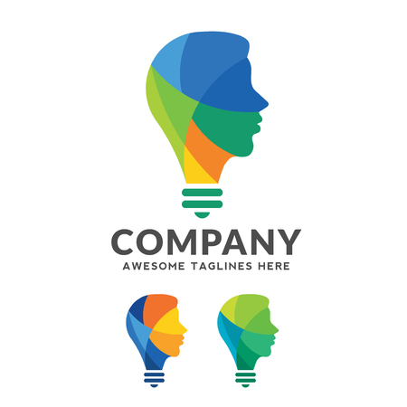 Creative colorful brain concept, intelligent person vector logo,creative logo combining bulb with a human head design