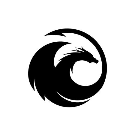 Kreative Drachen Silhouette Kreis Logo Design Vektor Illustration