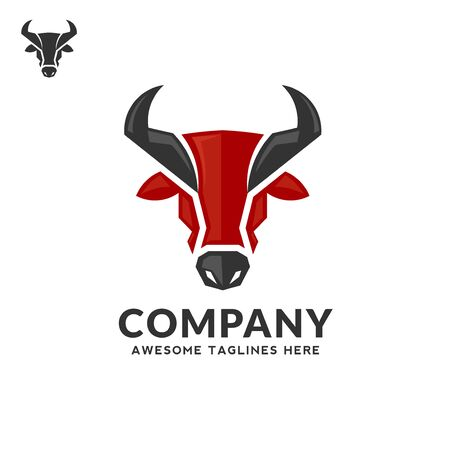 creative simple Bull head vector color logo concept illustration, Buffalo head logo