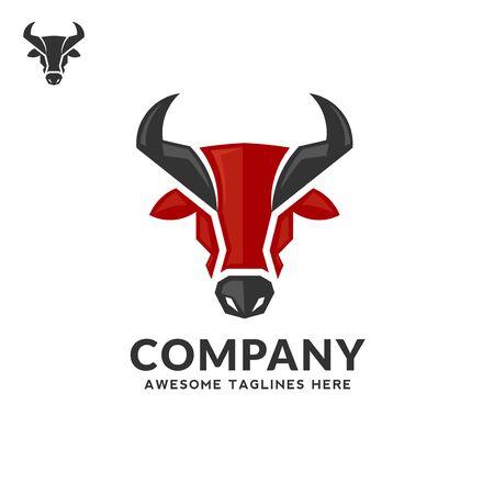 creative simple Bull head vector color logo concept illustration, Buffalo head logo