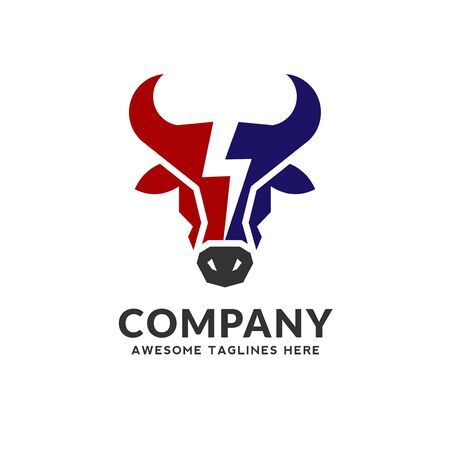 Bull head power vector logo concept illustration, bull head energy logo design