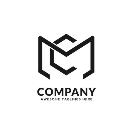 creative initial letter mc monochrome color logo vector