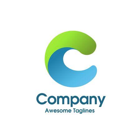 concept créatif simple de logo de couleur de lettre initiale c
