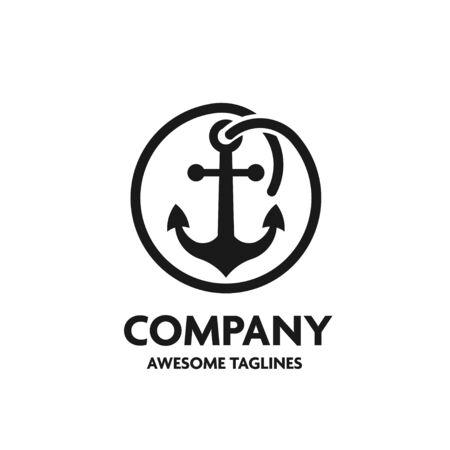 Anchor with circular rope frame logo concept