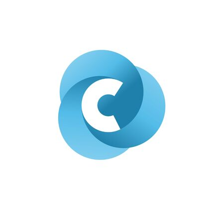 creative initial letter c with three blue circle color logo vector concept Иллюстрация