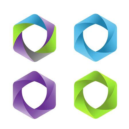 abstract colorful hexagon shield logo vector concept Ilustração