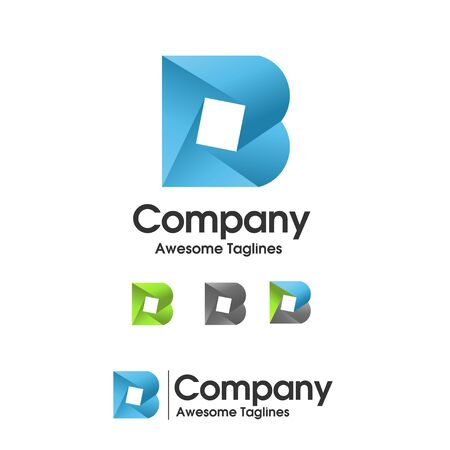 creative initial letter b with square logo vector concept Иллюстрация