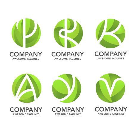 circle green leaf with hidden various letter logo vector concept