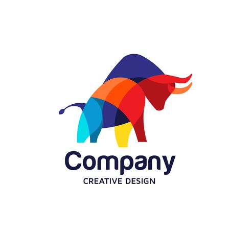 creative Colorful Bull Logo Symbol Vector Design Illustration