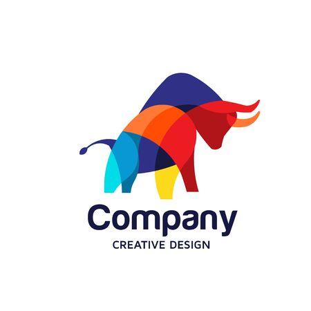 Illustration de conception de vecteur de symbole de taureau coloré créatif Vecteurs
