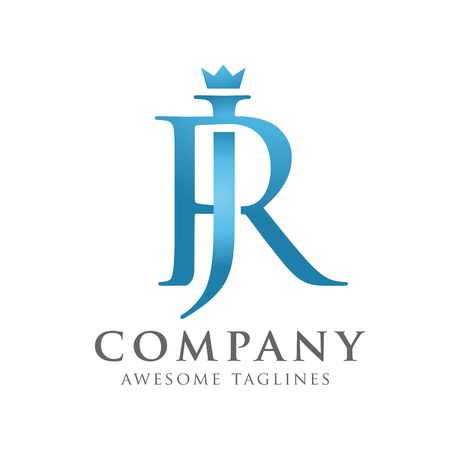 creative initial connected letters jr or rj logo monogram style