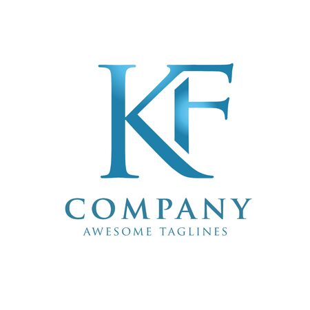 creative initial connected letters kf logo monogram style