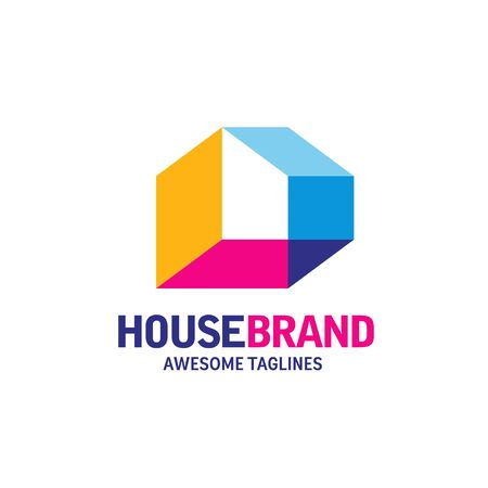 colorful house concept for home decoration logo, building house construction and staining vector