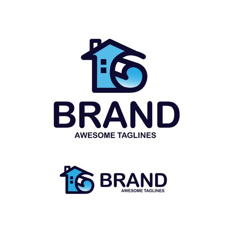 creative home list vector, home decor logo concept, roll of paper and house logo concept