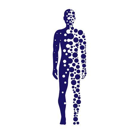 Silueta abstracta humana con círculos azules vector logo punteado Logos