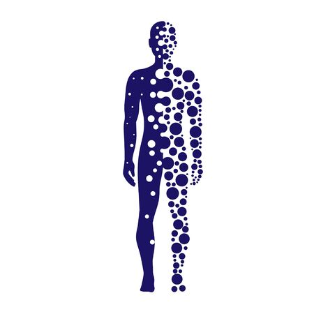 Abstract silhouette human with blue circles dotted logo vector Illustration