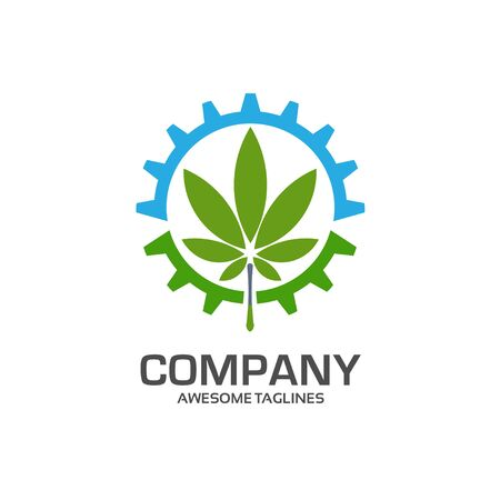 Logo template for agro company. gear and green leaf logo concept