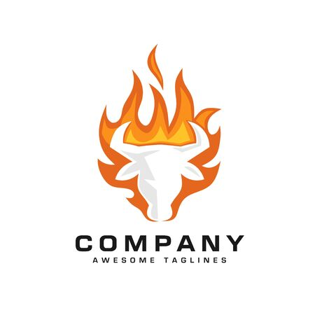 creative bull head fire logo vector illustration, bull Head Flaming Fire Vector Illustration Logo.