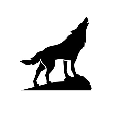 Simple flat Wolf silhouette Design Vector Illustration. Wolf Logo Template style