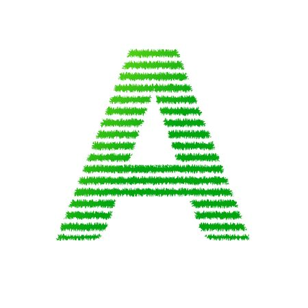 initial letter A with green strips line vector Isolated on white background