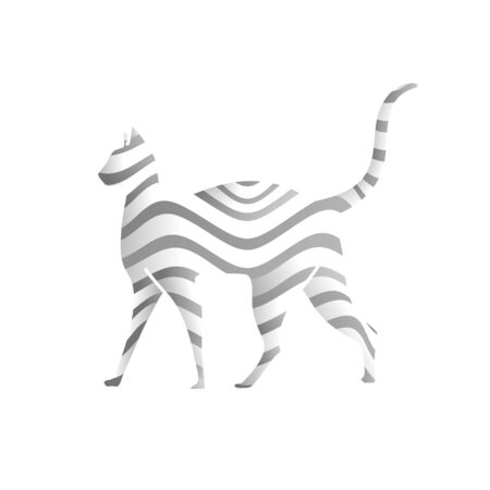 creative Cat drawn with wave lines pattern art vector illustration