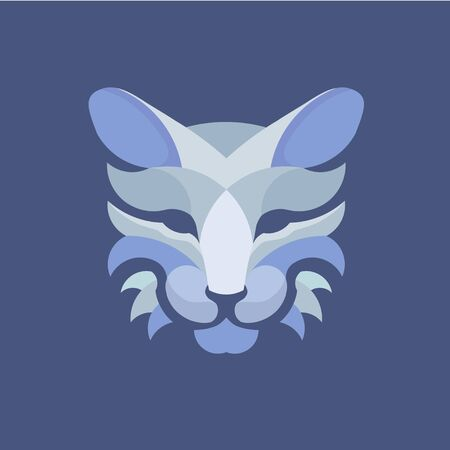 stylized Cat head face color vector style illustration