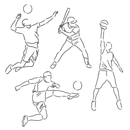 simple sketch of various sports athletes vector illustration