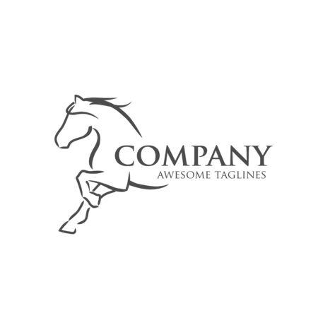 semplice illustrazione vettoriale di cavallo migliore per il logo di gare sportive