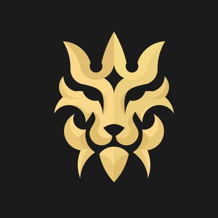 lion head in decorative classic design with gold color and black background in premium quality style design Banque d'images - 138368602