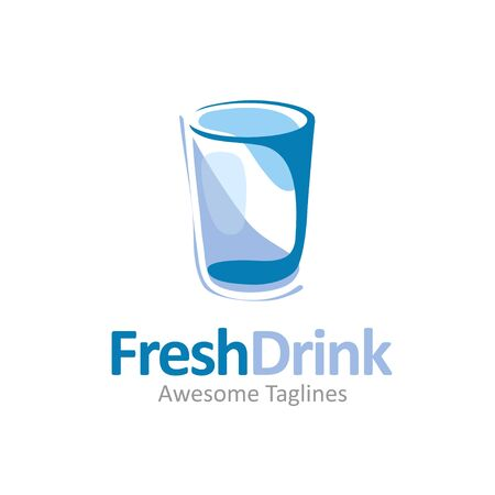 creative abstract clean glass for fresh drinking water illustration