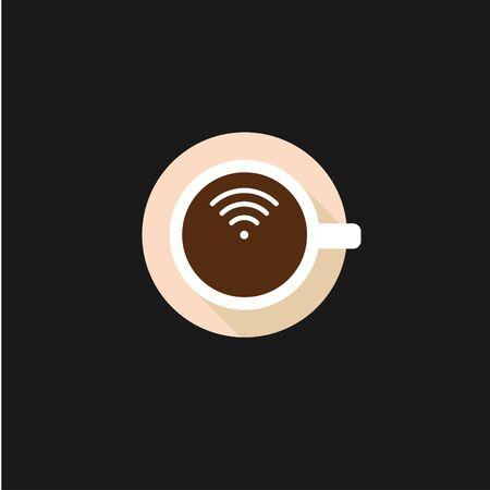 Taza de café con concepto de vector de logotipo de señal WiFi Logos