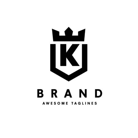 strong and simple initial letter k with king crown design vector illustration