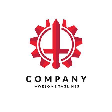 concetto di design del logo Sword and Gear semplice creativo