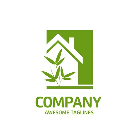 creative simple Green house logo vector. green leaf and house logo illustration,Ecology Friendly green house vector Archivio Fotografico - 138772908