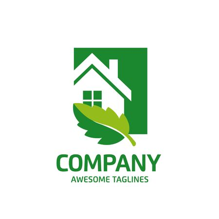 creative simple Green house logo vector. green leaf and house logo illustration,Ecology Friendly green house vector Archivio Fotografico - 138772910