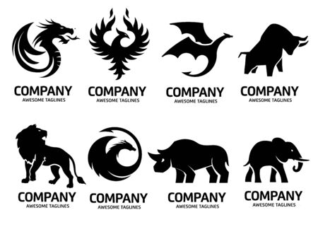 simple animals set logo vector silhouette on white background