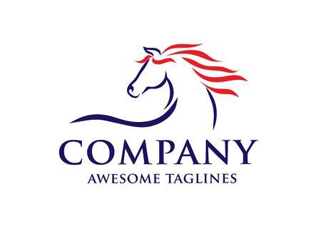 simple horse sketch racing logo template, equestrian logo vector