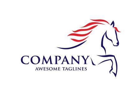 semplice modello di logo da corsa schizzo di cavalli, vettore logo equestre Logo