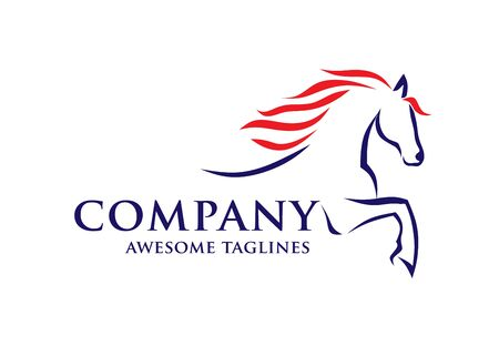 simple horse sketch racing logo template, equestrian logo vector
