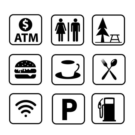 rest area sign vector illustration,Set of symbols for urban areas, Professional icon set in flat color style Vectores