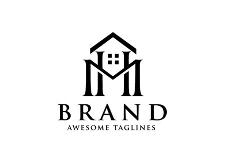 Vector real estate with initial Letter HM or MH Logo design template Logó