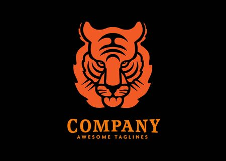 creative tiger animal mascot head vector illustration logo. Wild cat head mascot Иллюстрация