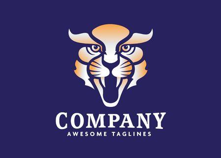 creative tiger animal mascot head vector illustration logo. Wild cat head mascot Illustration