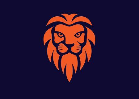 elegant lion head logo design illustration, lion kings head luxury symbol Banque d'images - 140410735