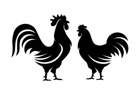 rooster and hen vector silhouette,vector images isolated on white background, flat vector Farm Animal illustration