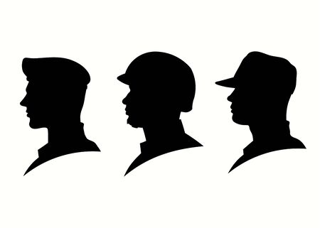 silhouette of military head illustration, Military Man Soldier Side View